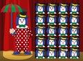 Clown Umbrella Strawberry Costume Cartoon Emotion faces Vector Illustration