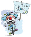 Clown on unicycle holding an its a boy placard cartoon artistic illustration of unicle hoding plackard Stock Photo