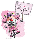 Clown on unicycle holding an its a girl placard cartoon artistic illustration of unicle hoding plackard Royalty Free Stock Images