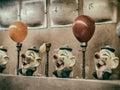 Clown Water Gun Game VIntage Royalty Free Stock Photo