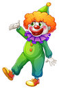 A clown wearing a green costume illustration of on white background Royalty Free Stock Images