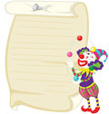 Clown on white illustration of and blank paper Royalty Free Stock Photography