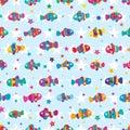 Clownfish colorful star symmetry seamless pattern