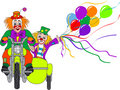 Clowns on motor bike Royalty Free Stock Photo