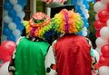 Clowns two prepare for performance Royalty Free Stock Photography
