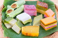 Clsoeup on malaysia popular assorted sweet dessert kuih kueh closeup or simply known as or Stock Photography