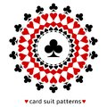 Club card suit snowflake awesome in the middle surrounded with spades diamonds and hearts Royalty Free Stock Image