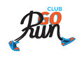 Club Go Run. Funny Inscription in Shoes on White
