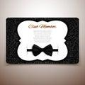 Club member vector card, gentlemen club, vip card, black bow