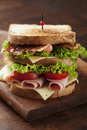 Club sandwich close up of fresh with ham bacon tomatoes cheese and lettuce Stock Photography
