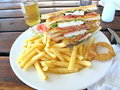 Club sandwich with french fries Royalty Free Stock Image