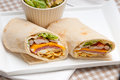 Club sandwich pita bread roll fresh and healthy Royalty Free Stock Images
