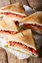 Club sandwich with turkey, bacon, cheese and vegetables close-up Royalty Free Stock Photo