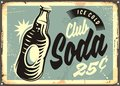 Club soda promotional retro tin sign Royalty Free Stock Photo