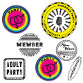 Club stamps series retro party colorful collection isolated on white Stock Image