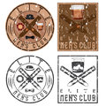 club vintage grunge labels with cigars and whiskey glass Royalty Free Stock Photo