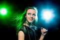 Clubber dancing and looking sideways with smile pretty closeup Stock Photography