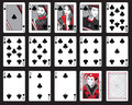 Clubs playing cards set of in including joker Royalty Free Stock Images