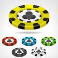 Clubs Poker Chip Isometric Set...