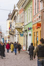 Cluj napoca city a main street in romania Royalty Free Stock Photo