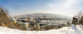 Cluj napoca city in transylvania region of romania cityscape pan panoramic view the capital on a winter day with sun Royalty Free Stock Images