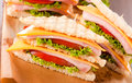 Clup sandwich selective focus in the middle of front club Royalty Free Stock Photo
