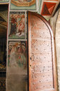 Clusone church bergamo lombardy italy oratorio dei disciplini historic interior with frescos Stock Images