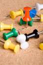 Cluster of colorful push pins Royalty Free Stock Photo