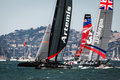 Cluster of competitors in the America's Cup races Royalty Free Stock Images