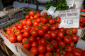 Cluster Tomatoes Display at Farmer's Market Royalty Free Stock Photo