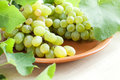 Clusters of muscat grapes on a plate Royalty Free Stock Images
