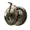 Clutch assembly kit with flywheel isolated from modern passenger car manual transmission Stock Image