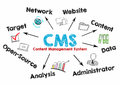 CMS Content Management Concept. Chart with keywords and icons on white background