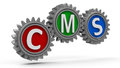 Cms gears concept content management system three dimensional rendering Stock Image