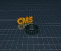 Cms tag and gear wheel on blue squared background d illustration Royalty Free Stock Image