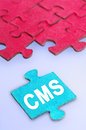 Cms word on blue background Royalty Free Stock Photography