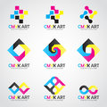 CMYK Art logo vector set design- cyan and magenta and yellow and keyblack color