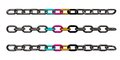 Cmyk chains metal on white background d illustration Royalty Free Stock Photos