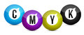 Cmyk color balls over white background Stock Image