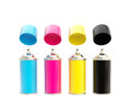 Cmyk colored spray oil color cylinders isolated with caps above on white Royalty Free Stock Photos