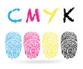 Cmyk colors with finger prints vector background Stock Photography