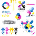 Cmyk design elements and emblems Stock Photography