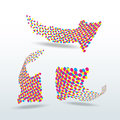 Cmyk dotted arrows icon set  illustration Royalty Free Stock Photography