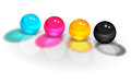 Cmyk four balls image with shadows Stock Image