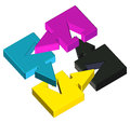 Cmyk fusion d of four colors cyan magenta yellow black Royalty Free Stock Photo