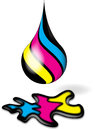 Cmyk ink drop splodge printing symbol Stock Images