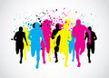 CMYK Marathon Runners Royalty Free Stock Photo