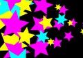 CMYK Party Stars on Black Background- PNG Raster Design