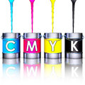 Cmyk pots high resolution rendering of Royalty Free Stock Photo