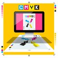 CMYK Printing Document on PC Computer with Marks Vector DTP Symbol